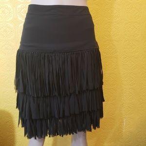 DKNY Black Silk Fringe Skirt
